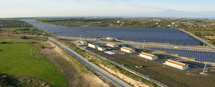 Italy, Photovoltaic power plant Catania - Siracusa highway