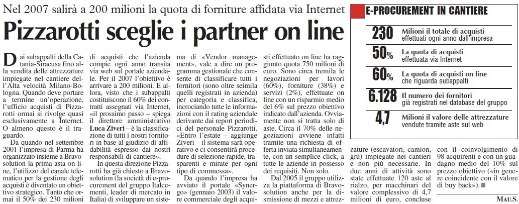 Pizzarotti sceglie i partner on line