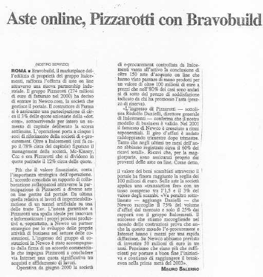 Aste on line, Pizzarotti con Bravobuild